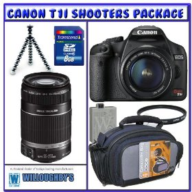 Canon Rebel T1i Digital SLR w/ EF-S 18-55mm IS Lens + Canon EF-S 55-250mm IS Lens + UV Filters + 8GB SD + Joby Gorillapod + Spare LP-E5 + Carrying Case