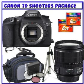 Canon EOS 7D SLR Digital Camera (Body Only) + Canon EF-S 15-85mm f/3.5-5.6 IS USM Lens + Two (2) 8GB CF 133x + Willoughby's Shooters Package