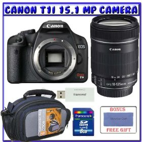 Canon EOS Rebel T1i Digital SLR (Body OutFit) w/ EF-S 18-135mm f/3.5-5.6 IS Lens + 8GB Memory Card + Advanced Shooters Package Package # 1
