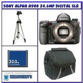 Sony Alpha A900 24.6MP Digital SLR Camera (Body Only) + 32GB Compact Flash Card + Pro Series Tripod + Pro DSLR Camera Bag