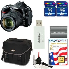 Nikon D90 Digital SLR Camera With 18-105mm AF-S DX VR Nikkor Lens [Outfit] + Two (2) Transcend 8GB Memory Card + Nikon EN-EL3e Battery + Naneu Digital SLR Case + Willoughbys Bonus Kit