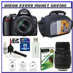 Nikon D3000 10MP Digital SLR Camera w/ 18-55mm f/3.5-5.6G AF-S DX VR Nikkor Zoom Lens w/ 70-300mm f/4-5.6 DG Macro Autofocus Lens for Nikon AF + 8GB Card + Case + Accessory Kit