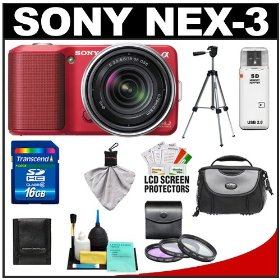 Sony Alpha NEX-3 Digital Camera Body & E 18-55mm OSS Compact Interchangeable Lens (Red) with 16GB Card + Battery + Case + Tripod + Accessory Kit