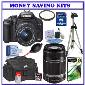 Canon EOS Rebel XSi (a.k.a. 450D) SLR Digital Camera Kit (Black) with 18-55mm IS Lens & Canon 55-250mm IS Lens + Canon XS/XSI Digital Rebel Kit w/ Case, 58mm UV Filter and LP-E5 Li-ion Battery + Willoughbys 8GB SDHC Deluxe Accessory Kit