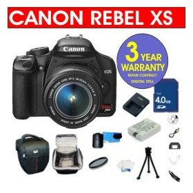 Canon EOS Rebel XS Black SLR 10.1 MP Digital Camera with EF-S 18-55mm IS Lens + 4 GB Memory Card + 6 Piece Accessory Kit + Camera Holster Case + Multi-Coated Glass UV Filter + 3 Year Warranty Repair Contract