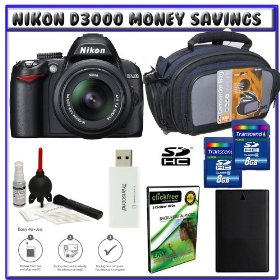 Nikon D3000 10MP Digital SLR Camera w/ 18-55mm f/3.5-5.6G AF-S DX VR Nikkor Zoom Lens w/ Two (2) Transcend 8GB SDHC Card + EN-EL9a Battery + Case + Accessory Kit