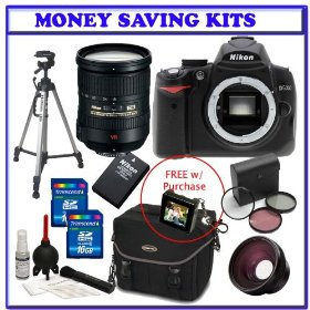 Nikon D5000 12.3 MP DX Digital SLR w/ Nikon 18-200mm f/3.5-5.6 G ED-IF AF-S VR DX Lens + Spare Nikon Lithium-Ion Battery + Two (2) 16GB + Digital SLR Gadget Bag + .48x Wide Angle Panoramic HD Series Fisheye w/ Macro+ 3PC Filter Kit + Accessories Kit