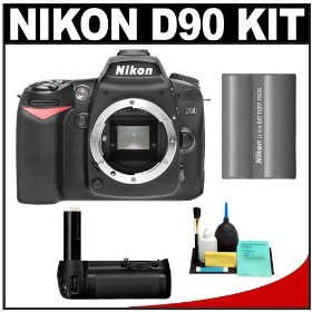 Nikon D90 Digital SLR Camera Body + Nikon MB-D80 Battery Grip + Nikon EN-EL3e Battery + Cleaning Kit