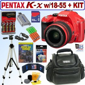 Pentax K-x 12.4MP Digital SLR Camera with 18-55mm f/3.5-5.6 AL Lens (Red) + 16GB Deluxe Accessory Kit