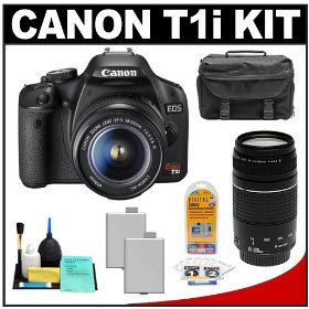 Canon EOS Rebel T1i 15.1MP Digital SLR Camera (Black) with Canon EF-S 18-55mm IS + 75-300mm f/4-5.6 III Lens + (2) LP-E5 Battery Packs + Case + Accessory Kit