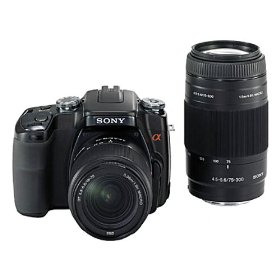 Sony Alpha DSLR A100 Kit 10.2MP Digital SLR Camera Kit with Super SteadyShot Image Stabilization with 18-70mm f/3.5-5.6 and 75-300mm f/4.5-5.6 Lenses