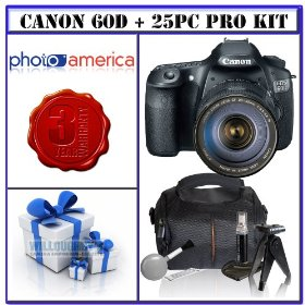 Canon EOS 60D 18 MP CMOS Digital SLR Camera w/ Canon EF 28-135mm f/3.5-5.6 IS Image Stabilizer USM Autofocus Lens + 3-Year Extended Warranty for Canon EOS D-SLRs + 16GB Bonus Photographers Package # 1