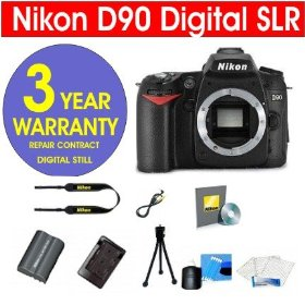 Nikon D90 12.3 MP Digital SLR Camera Body + 6 Piece Digital Camera Accessory Kit + 3 Year Extended Warranty Repair Contract