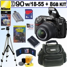 Nikon D90 DX 12.3MP Digital SLR Camera with 18-55mm f/3.5-5.6G AF-S DX VR Nikkor Zoom Lens + 8GB Deluxe Accessory Kit
