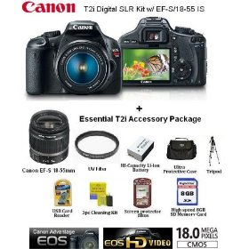 New Canon EOS Rebel T2i Digital SLR Kit w/ EF-S/18-55 IS With Essential T2I Accessory Kit Package Includes 8GB Memory + Spare Battery + Carrying Case + UV Filter + More