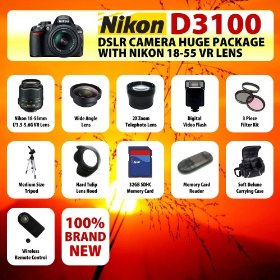 The Nikon D3100 SLR Digital Camera with Nikon 18-55m f3.5-5.6G VR Lens HUGE PACKAGE including 32GB SDHC Memory Card + Card Reader + Wide Angle Lens + 2x Telephoto Lens + Filter Kit + Digital Flash + Case + Tripod + Lens Hood and MORE!