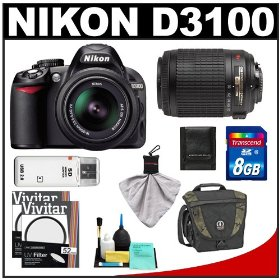 Nikon D3100 Digital SLR Camera & 18-55mm VR + 55-200mm VR Lens with 8GB Card + Filters + Tamrac Case + Accessory Kit