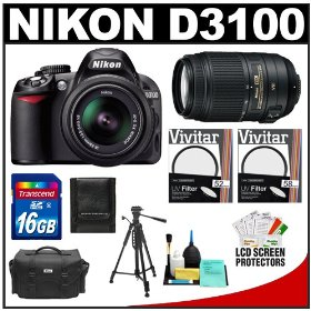 Nikon D3100 Digital SLR Camera & 18-55mm VR + 55-300mm VR Lens with 16GB Card + Filters + Case + Tripod + Accessory Kit