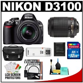 Nikon D3100 Digital SLR Camera & 18-55mm VR + 55-200mm VR Lens with 32GB Card + Filters + Case + Accessory Kit
