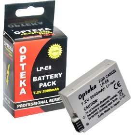 Opteka LP-E8 2000mAh Ultra High Capacity Li-ion Battery Pack for Canon Digital Rebel T2i Digital SLR Camera