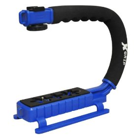 Opteka X-GRIP Professional Camera / Camcorder Action Stabilizing Handle with Accessory Shoe for Flash, Mic, or Video Light (Blue)