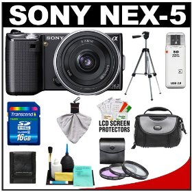 Sony Alpha NEX-5 Digital Camera Body & E 16mm f/2.8 Compact Interchangeable Lens (Black) with 16GB Card + Battery + Case + Tripod + Accessory Kit