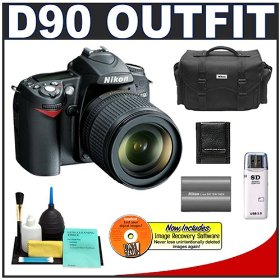 Nikon D90 Digital SLR Camera with 18-105mm AF-S DX VR Nikkor Lens [Outfit] + EN-EL3e Battery + Case + Cameta Bonus Accessory Kit