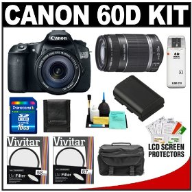 Canon EOS 60D Digital SLR Camera Body with EF-S 18-135mm IS Lens & 55-250mm IS Lens + 16GB Card + Case + Accessory Kit