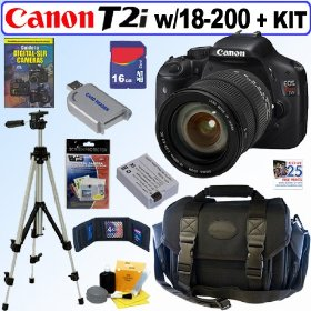 Canon EOS Rebel T2i 18 MP CMOS APS-C Digital SLR Camera with Sigma 18-200mm f/3.5-6.3 DC AF OS (Optical Stabilizer) Zoom Lens + 16GB Deluxe Accessory Kit