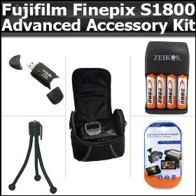 Advanced Accessory Kit For Fujifilm FinePix S1800 12.2 MP Digital Camera Includes USB 2.0 High Speed Card Reader + 4AA (2900 mAH) Rechargable NIMH Baterries And Charger + Deluxe Carrying Case + LCD Screen Protectors + More