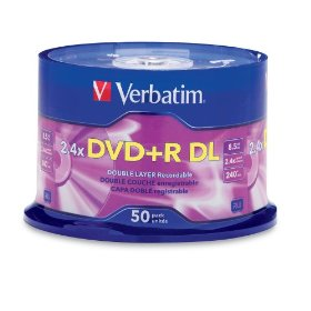 Verbatim 96577 8.5 GB 2.4x-6x Double Layer Recordable Disc DVD+R DL, 50-Disc Spindle