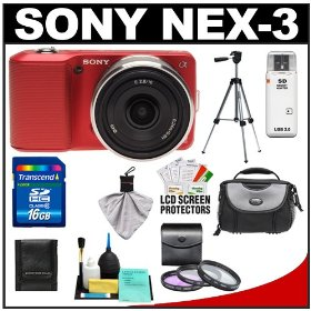 Sony Alpha NEX-3 Digital Camera Body & E 16mm f/2.8 Compact Interchangeable Lens (Red) with 16GB Card + Battery + Case + Tripod + Accessory Kit