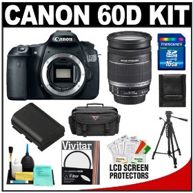 Canon EOS 60D Digital SLR Camera Body with 18-200mm IS Lens + 16GB Card + Case + Tripod + Accessory Kit