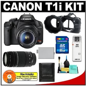 Canon EOS Rebel T1i 15.1MP Digital SLR Camera (Black) w/ EF-S 18-55mm IS & EF 75-300mm III Zoom Lens with 16GB SD Card + LP-E5 + Camera Armor + Accessory Kit