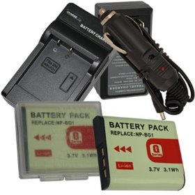 NEW Charger + 2 Battery + Car Plug for Sony NP-BG1 CyberShot DSC-H3 DSC-H7 DSC-H9 DSC-N1 DSC-N2 DSC-T100 DSC-T20 DSC-W100 DSC-W130 DSC-W150 DSC-W200 DSC-W30 DSC-W300 DSC-W35 DSC-W50 DSC-W55 DSC-W70 DSC-W80 DSC-W90