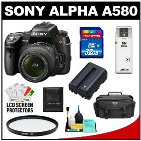 Sony Alpha DSLR-A580 16.2 MP Digital SLR Camera & 18-55mm Lens with 32GB Card + Battery + Case + UV Filter + Cleaning & Accessory Kit
