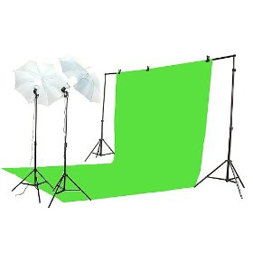 EPhoto 10' X 20' Chromakey Chroma Key Green Screen Sheet Photography and Video Lighting Background Stand System and Lighting Kit Case by ePhoto INC K15_10x20Green