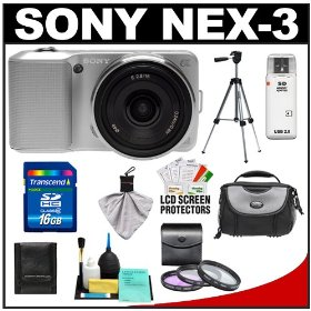 Sony Alpha NEX-3 Digital Camera Body & E 16mm f/2.8 Compact Interchangeable Lens (Silver) with 16GB Card + Battery + Case + Tripod + Accessory Kit