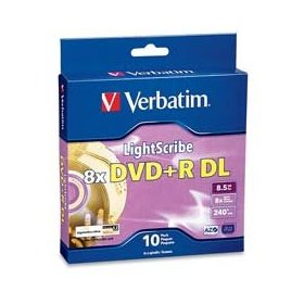 Verbatim 96689 8.5 GB 8x LightScribe Double-Layer Recordable Disc DVD+R DL, 10-Disc Spindle