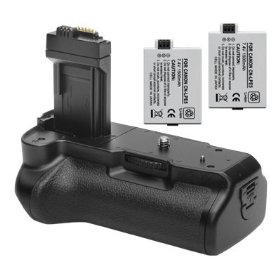 Opteka Battery Pack Grip / Vertical Shutter Release for Canon EOS Digital Rebel XS, XSi and T1i with 2 LP-E5 Batteries (3600 mAh Total)
