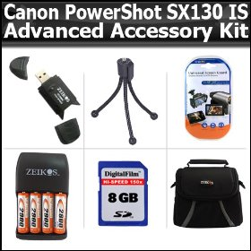 Advanced Accessory Kit For Canon PowerShot SX130 IS SX130IS Digital Camera Includes 8GB High Speed SD Memory card + USB 2.0 High Speed Card Reader + 4AA (2900 mAH) Rechargable NIMH Baterries And Charger + Deluxe Case + LCD Screen Protectors + M