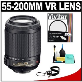 Nikon 55-200mm f/4-5.6G ED IF AF-S DX VR [Vibration Reduction] Zoom Nikkor Lens + 52mm UV Glass Filter + Accessory Kit for D40, D60, D90, D200, D300, D300s, D3000, D5000 Digital SLR Cameras