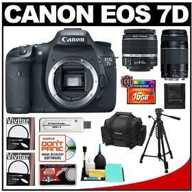 Canon EOS 7D Digital SLR Camera Body & Canon 18-55mm & Canon 75-300mm III Lens with 16GB Card + Tripod + Canon 2400 DSLR Gadget Bag Case + Accessory Kit