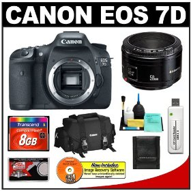 Canon EOS 7D Digital SLR Camera with EF 50mm f/1.8 II Lens + 8GB Card + Canon 2400 DSLR Gadget Bag Case + Accessory Kit
