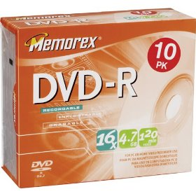 Memorex 4.7Gb/16x DVD-R (10-Pack Slim Case)
