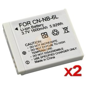 CANON NB-6L Equivalent Li Ion Battery 2-Pack for PowerShot S90 SD980 D10 Waterproof and SD770 IS SD1200 IS Cameras