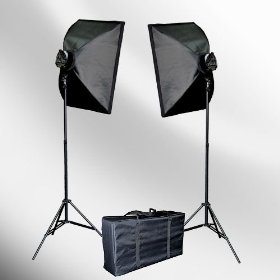EPhoto 2000 WATT Digital Photography Lighting Studio Portrait Video Continuous Softbox Lighting Kit Light Set + Carrying Case - 2 Light stands, 2 Softboxes, 2 light heads(5bulbs each), 10 Photo Bulbs by ePhoto INC VL9026s