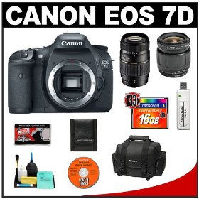 Canon EOS 7D Digital SLR Camera Body + Tamron 28-80mm & 70-300mm Di LD Macro Zoom Lens + 16GB Card + Canon 2400 DSLR Gadget Bag Case + Accessory Kit