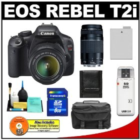 Canon EOS Rebel T2i Digital SLR Camera & 18-55mm IS Lens + EF 75-300mm III Zoom Lens + 8GB Card + Battery + Case + Accessory Kit