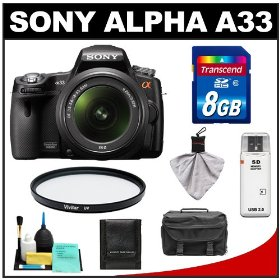 Sony Alpha A33 SLTA33L 14.2 MP Translucent Mirror Technology Digital SLR Camera & 18-55mm Lens with 8GB Card + Case + UV Filter + Cleaning & Accessory Kit